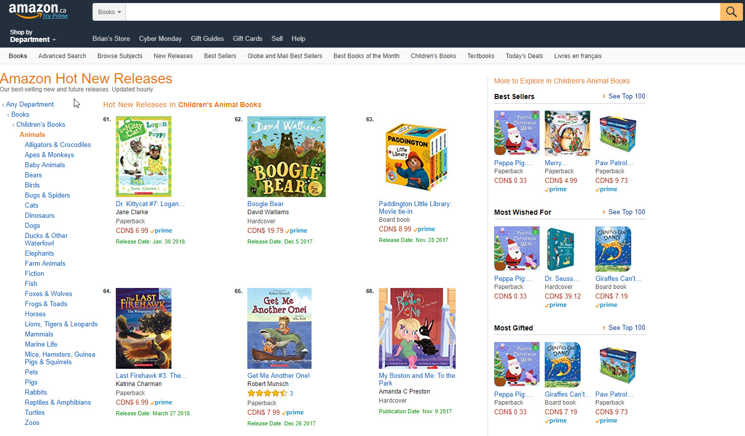 Amazon.ca Hot New Releases Children's Animal Books