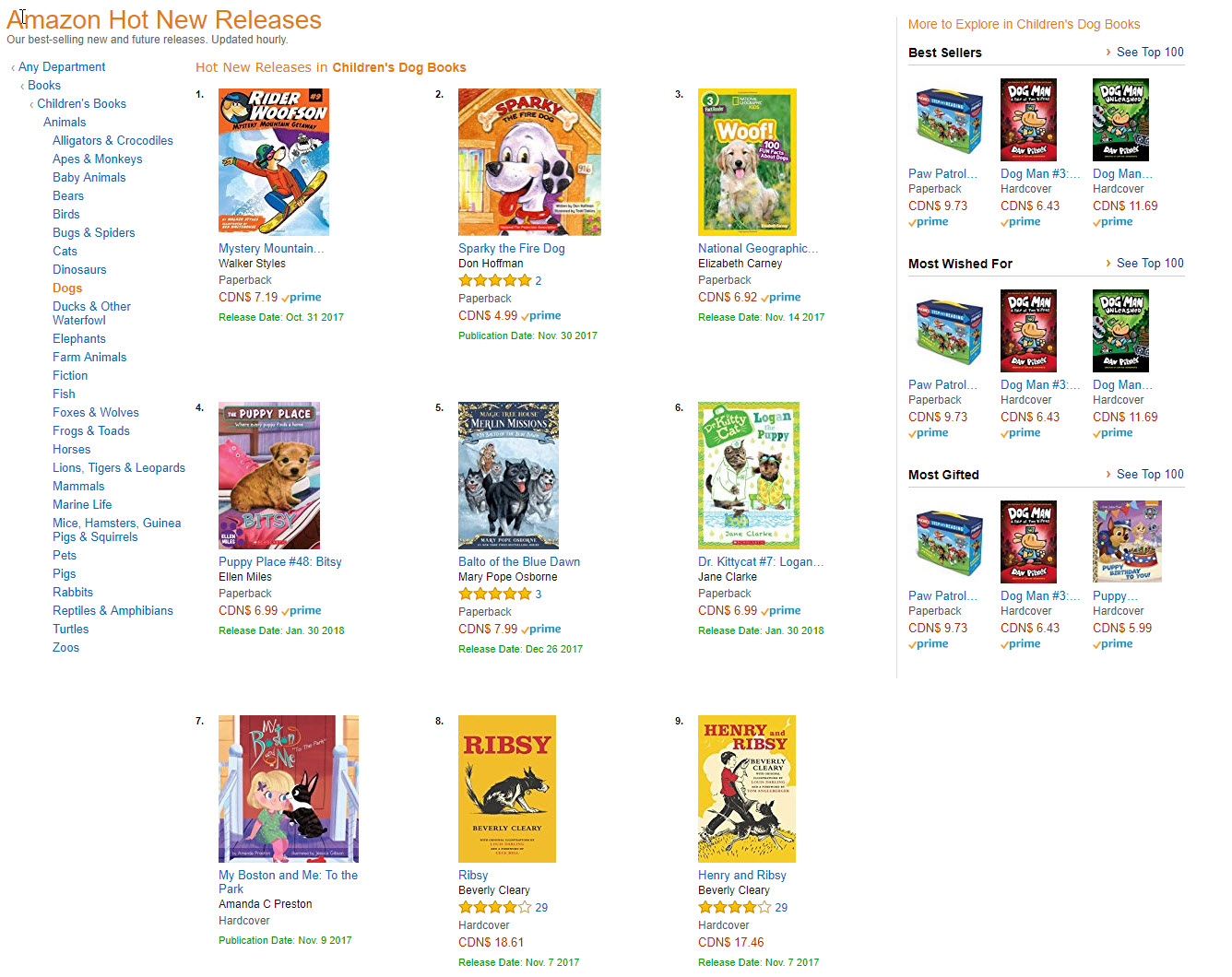 Amazon.ca Hot New Releases Children's Dog Books